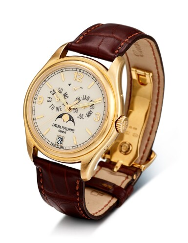 View 2. Thumbnail of Lot 8237. PATEK PHILIPPE | REFERENCE 5146   A YELLOW GOLD ANNUAL CALENDAR WRISTWATCH WITH MOON PHASES AND POWER RESERVE INDICATION, CIRCA 2008.
