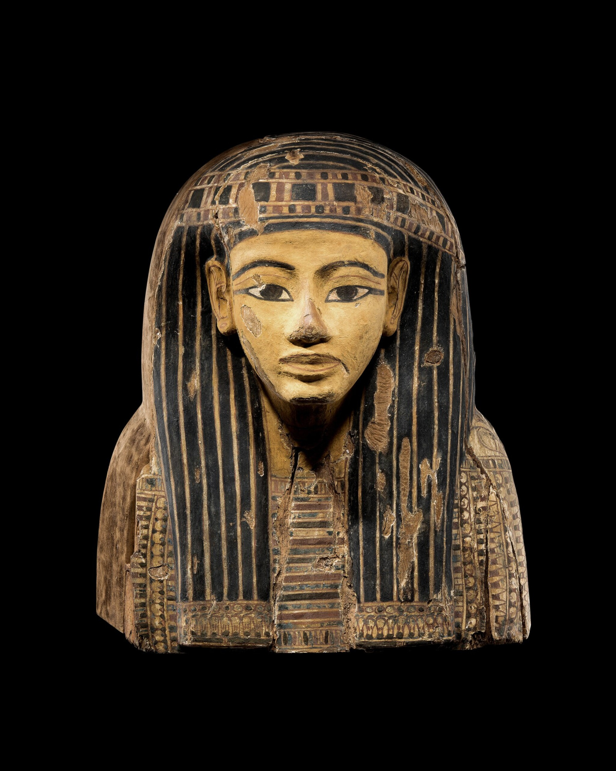 View full screen - View 1 of Lot 61. The Upper Part of an Egyptian Polychrome Wood Sarcophagus, 21st/early 22nd Dynasty, circa 1075-950 B.C..