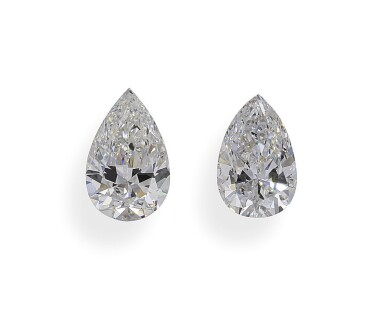 A Pair of 1.06 and 1.04 Carat Pear-Shaped Diamonds, E and F Color, S12 Clarity