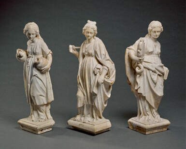 ITALIAN, POSSIBLY TUSCANY, SECOND HALF 16TH CENTURY |THREE FEMALE FIGURES ALLEGORICAL OF VIRTUES