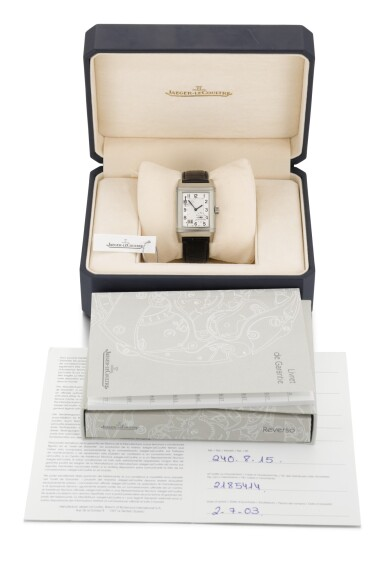 View 3. Thumbnail of Lot 20. JAEGER LECOULTRE | REVERSO, REFERENCE 240.8.15, STAINLESS STEEL REVERSIBLE RECTANGULAR WRISTWATCH WITH 8-DAY POWER-RESERVE INDICATION AND DATE, CIRCA 2003.