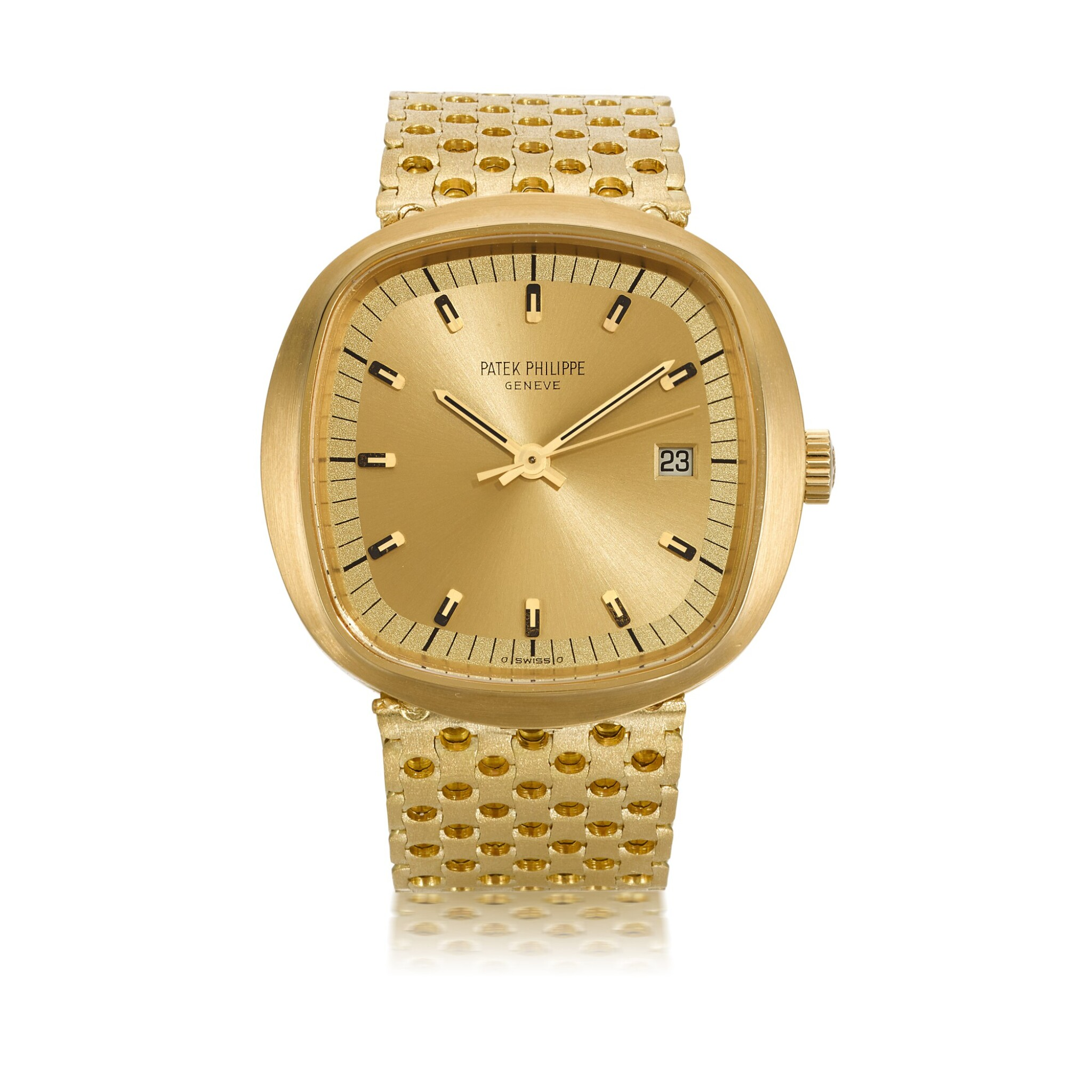 View full screen - View 1 of Lot 1201. PATEK PHILIPPE | BETA 21, REF 3597/2, LARGE YELLOW GOLD CUSHION-FORM BRACELET WATCH WITH DATE MADE IN 1974.