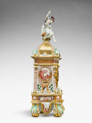 View 4. Thumbnail of Lot 64. A highly important documentary and dated Meissen mantel clock case, Dated 1727, the gilt-bronze mount probably German, mid-18th century, the movement signed Barrey à Paris, Circa 1700 .