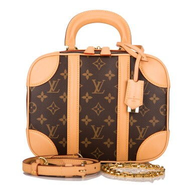 View 2. Thumbnail of Lot 85. LOUIS VUITTON   MONOGRAM VALISETTE MINI LUGGAGE PM IN COATED CANVAS AND VACHETTA LEATHER WITH GOLDEN BRASS HARDWARE.