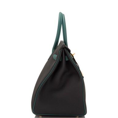 View 3. Thumbnail of Lot 31. Hermès Special Order Bicolor Black and Malachite Togo Birkin 35cm BGHW.