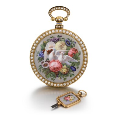 View 4. Thumbnail of Lot 292. BOVET FLEURIER | A PAIR OF GOLD, ENAMEL AND PEARL-SET WATCHES MADE FOR THE CHINESE MARKET, CIRCA 1825, NO. 176.