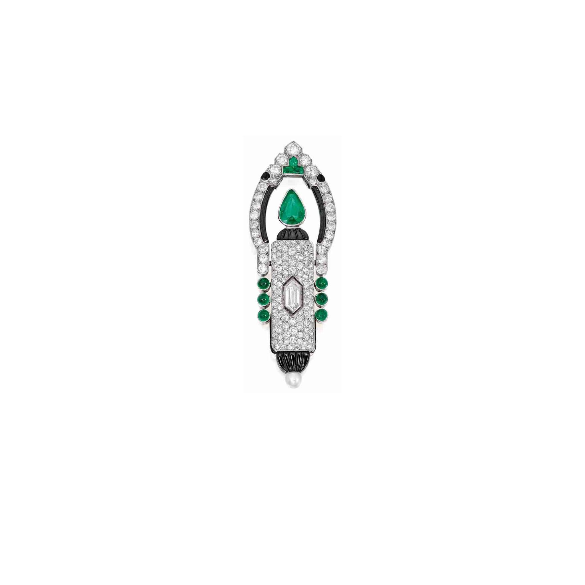 View full screen - View 1 of Lot 20. Cartier [ 卡地亞] | Gem-Set and Diamond Lapel-Watch, France [寶石配鑽石領錶].