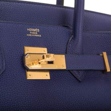 View 6. Thumbnail of Lot 5. HERMÈS   BLUE ENCRE BIRKIN 30CM OF TOGO LEATHER WITH GOLD HARDWARE.