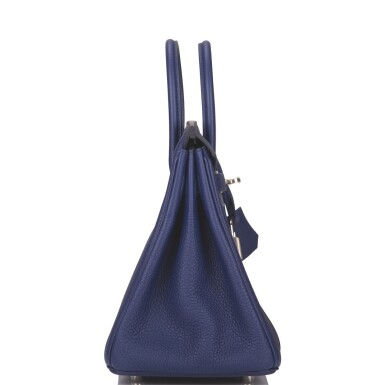 Hermès Bleu Encre and Bordeaux Officier Birkin 25cm of Togo Leather with Palladium Hardware