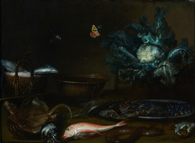 ATTRIBUTED TO OTTO MARSEUS VAN SCHRIECK | Kitchen still life with fish, a lobster, and a cauliflower all on a table top, with a butterfly and a dragonfly