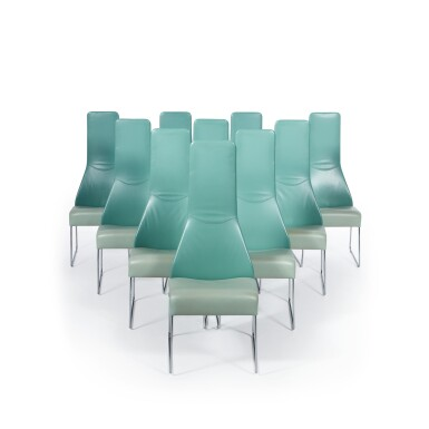 """Set of Ten """"Lazy"""" High Back Dining Chairs"""