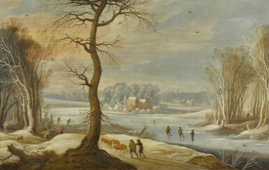 CIRCLE OF GYSBRECHT LEYTENS | A winter landscape with skaters on a frozen river, men returning from the hunt, and peasants collecting wood