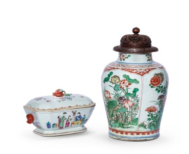 View 1 of Lot 231. Potiche en porcelaine wucai et terrine couverte en porcelaine de la Famille Rose Dynastie Qing, XVIIE-XVIIIE siècle | 清十七至十八世紀 五彩開光花卉紋罐 及 粉彩人物故事圖蓋盆 | A wucai jar and a Famille-Rose tureen and cover, Qing Dynasty, 17th-18th century.