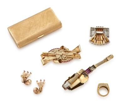 GROUP OF RUBY AND DIAMOND JEWELS AND A CIGARETTE CASE (GRUPPO DI GIOIELLI CON RUBINI E DIAMANTI ED UN PORTASIGARETTE)