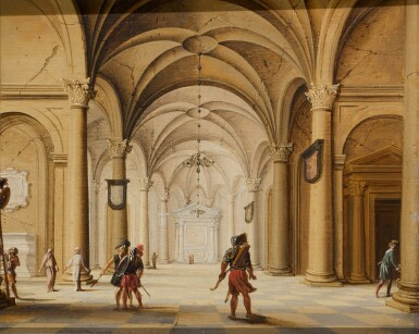 JAN VAN DER VUCHT | The interior of a cathedral with soldiers in the foreground