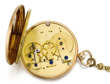 View 4. Thumbnail of Lot 57. BREGUET ET FILS   [寶璣]  | A FINE AND UNUSUAL GOLD RUBY CYLINDER WATCH WITH DATE AND SHORT CHAIN  NO. 2348, 'MONTRE SIMPLE' SOLD TO SON ALTESSE ROYALE LE DUC DE CAMBRIDGE ON 10 APRIL 1818 FOR 1172 FRANCS   [罕有黃金懷錶備紅寶石工字輪擒縱機芯、日期及短錶鍊,編號2348,1818年4月10日以1,172法郎售予劍橋公爵殿下].