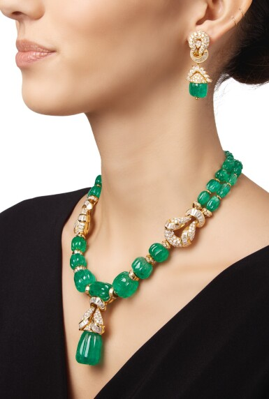 View 2. Thumbnail of Lot 168. EMERALD AND DIAMOND NECKLACE AND PAIR OF EARCLIPS.
