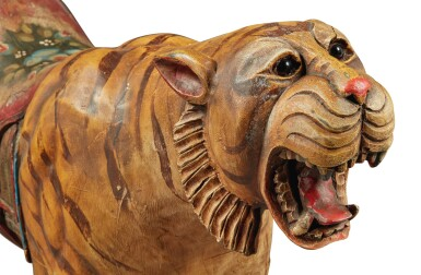 View 6. Thumbnail of Lot 163. Rare Carved and Polychrome Paint-Decorated Pine Carousel Tiger, Philadelphia Toboggan Company, Philadelphia, Pennsylvania, circa 1905.