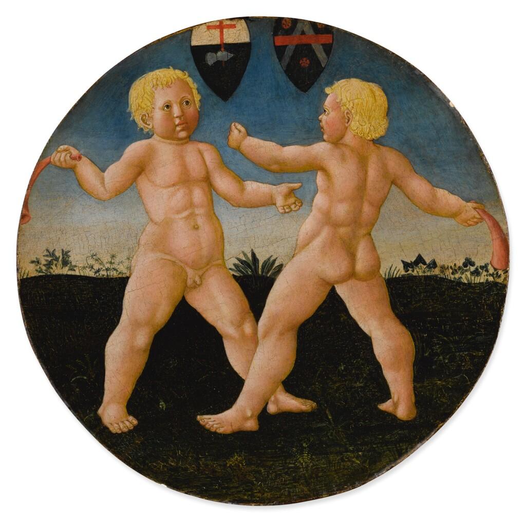 GIOVANNI DI SER GIOVANNI GUIDI, CALLED SCHEGGIA | TWO BOYS AT PLAY, A DESCO DA PARTO