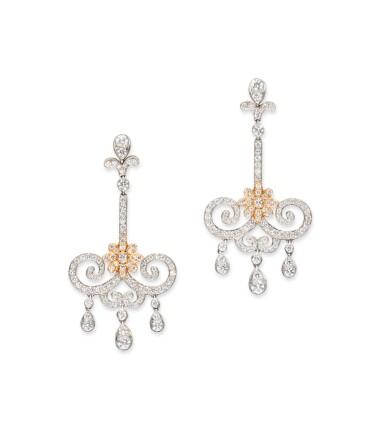 PAIR OF DIAMOND 'ENCHANT' PENDANT EARRINGS, TIFFANY & CO.