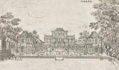 View 16. Thumbnail of Lot 362. A SET OF TWENTY PRINTS OF PALACES, PAVILIONS AND GARDENS AT YUANMING YUAN | 巴黎、1977年 《郎世寧圓明園西洋樓》 一組二十幅 水墨紙本.