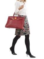 Red leather and gold plated hardware handbag, Birkin 40, Hermès, 1991
