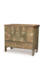 VERY RARE WILLIAM AND MARY PAINT-DECORATED PINE CHEST WITH DRAWER, MILFORD, CONNECTICUT, CIRCA 1730