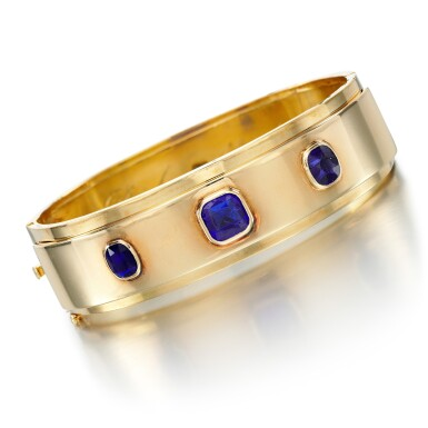 View 2. Thumbnail of Lot 61. SAPPHIRE AND PASTE BANGLE .