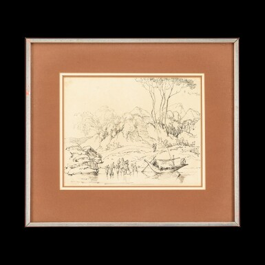 View 1. Thumbnail of Lot 201. George Chinnery (1774-1852), 1822 Indian Figures and a Boat at a River | 錢納利(1774-1852年) 1822年   素描印度河岸風光圖   紙本鋼筆及墨水 鏡框.