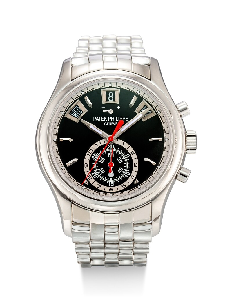 Reference 5960 A Stainless Steel Annual Calendar Flyback Chronograph Bracelet Watch With Power Reserve and Day and Night Indication, Circa 2016
