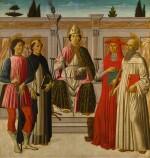 FRANCESCO BOTTICINI   Saint Nicholas enthroned with Saints Hubert, Dominic, Jerome and Anthony of Padua   弗朗契斯科・波提其尼  《聖尼格老登位,聖胡伯、聖道明、聖傑羅姆與帕多瓦的聖安東尼在旁》