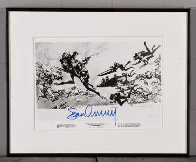 View 9. Thumbnail of Lot 52. THUNDERBALL (1965) US, PARTIAL BILLBOARD POSTER (ACCOMPANIED BY A FRAMED LOBBY CARD SIGNED BY SEAN CONNERY.).