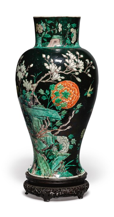 View 2. Thumbnail of Lot 1039.  A FAMILLE-NOIRE 'BIRD AND FLOWER' BALUSTER JAR,  QING DYNASTY, 19TH CENTURY.