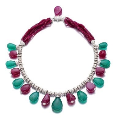 View 1. Thumbnail of Lot 13. MICHELE DELLA VALLE | RUBY, EMERALD AND DIAMOND NECKLACE.