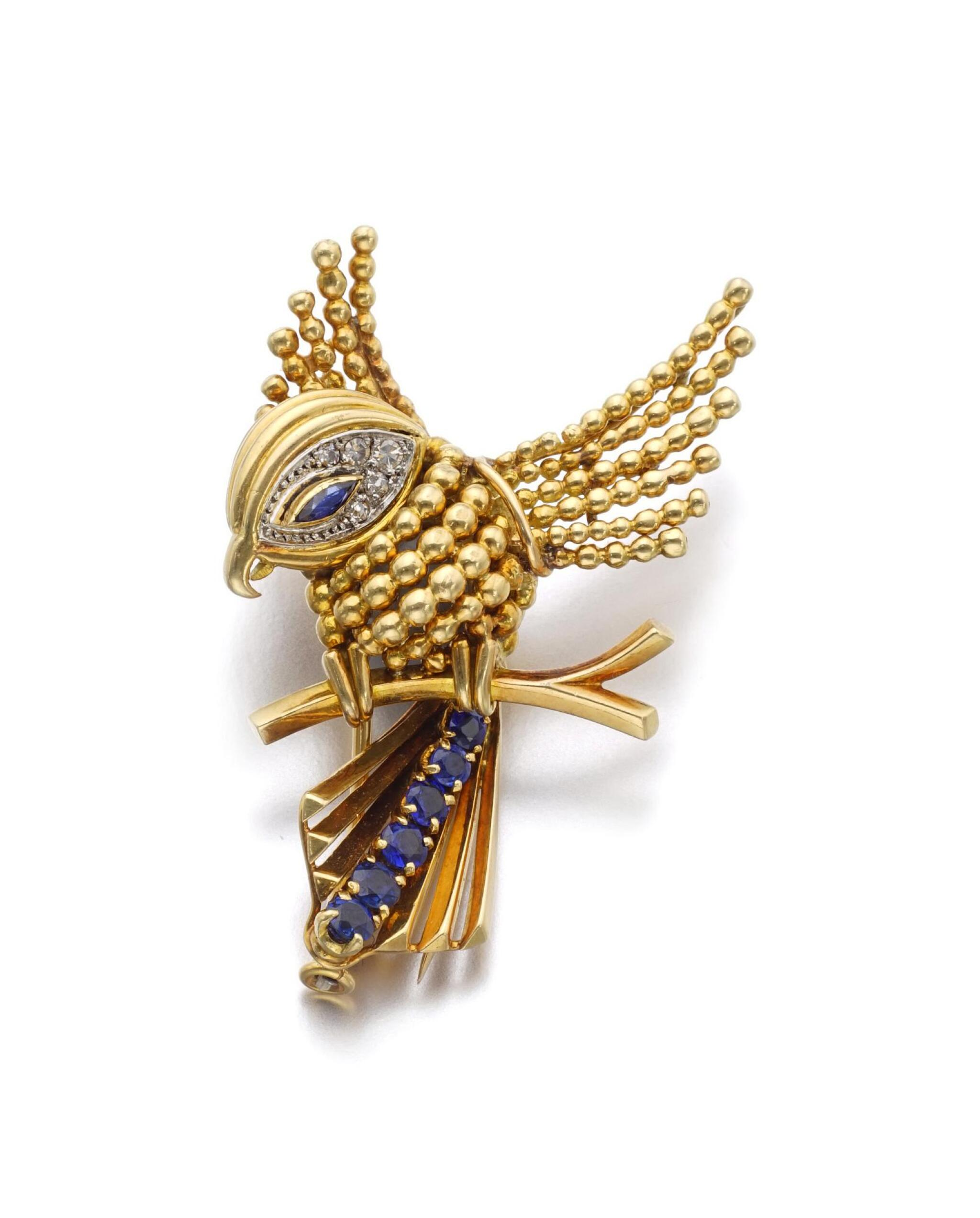 View full screen - View 1 of Lot 1. GOLD, SAPPHIRE AND DIAMOND BROOCH | BOUCHERON.