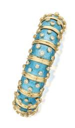 SCHLUMBERGER FOR TIFFANY & CO. | GOLD, ENAMEL AND DIAMOND BANGLE-BRACELET