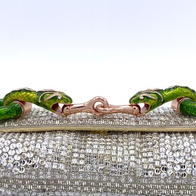 View 5. Thumbnail of Lot 707. GUCCI   TOM FORD SERPENT HEAD CLUTCH BAG IN LIZARD WITH SWAROVSKI CRYSTALS.