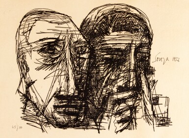FRANCIS NEWTON SOUZA | Untitled (Two Heads)