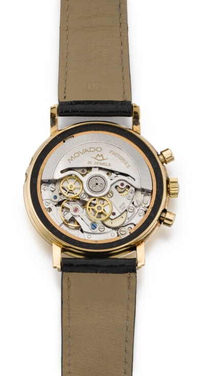 View 3. Thumbnail of Lot 14. EKEGREN | YELLOW GOLD CHRONOGRAPH WRISTWATCH WITH DAY, DATE, MONTH AND MOON-PHASES, CIRCA 1990.