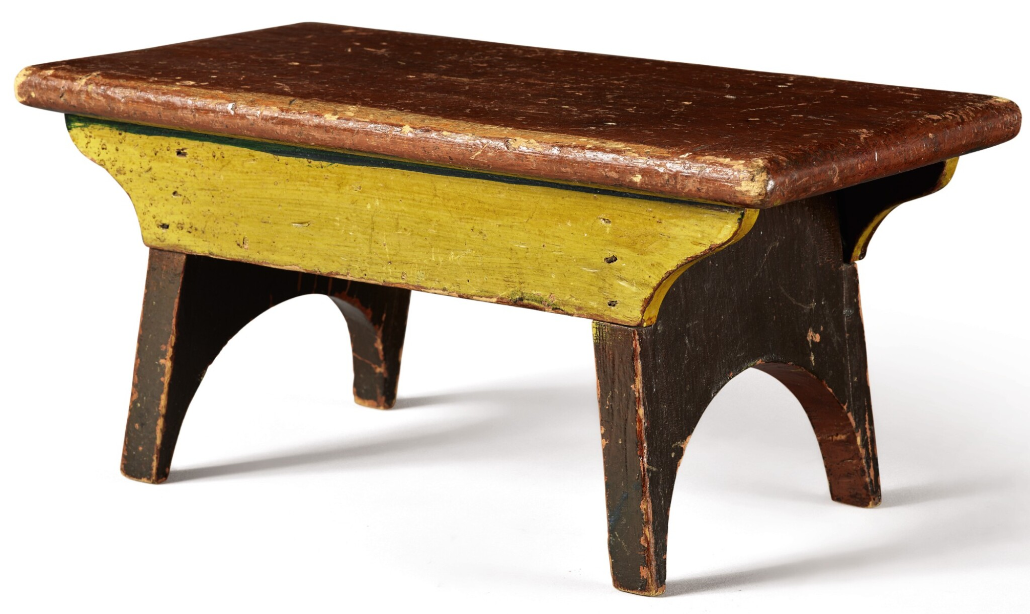 View full screen - View 1 of Lot 1477. PAINTED PINE FOOTSTOOL, NEW ENGLAND, 19TH CENTURY.