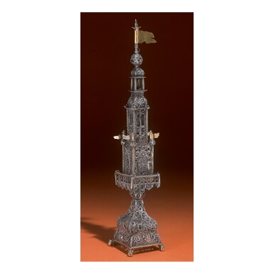 View 1. Thumbnail of Lot 175. A LARGE PARCEL-GILT SILVER FILIGREE SPICE TOWER, GALICIAN, 18TH CENTURY.