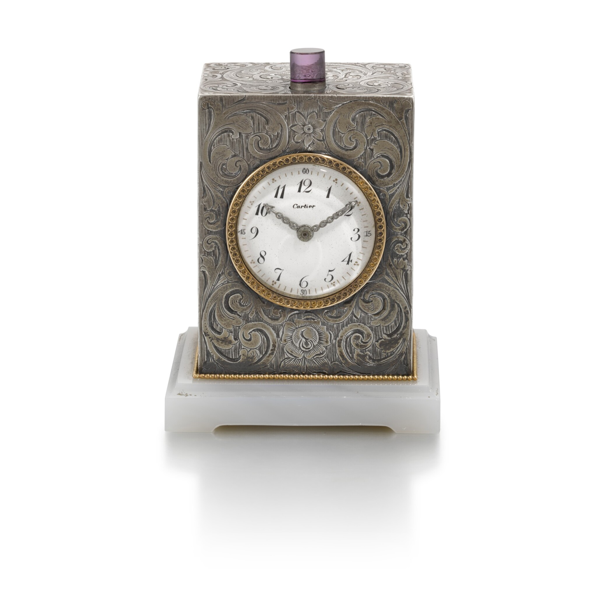 View full screen - View 1 of Lot 701. SILVER QUARTER REPEATING DESK CLOCK EARLY 20TH CENTURY.