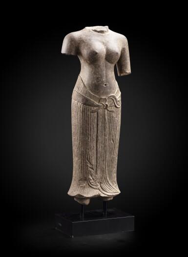 View 2. Thumbnail of Lot 236. A grey sandstone torso of a female divinity Khmer art, Baphuon style, circa 11th Century | 高棉藝術 約十一世紀 巴普昂式砂岩雕女神立像殘件.