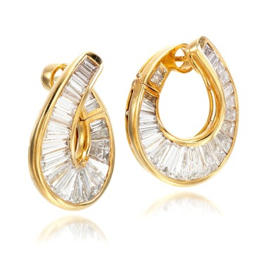 View 2. Thumbnail of Lot 70. Pair of diamond earrings.