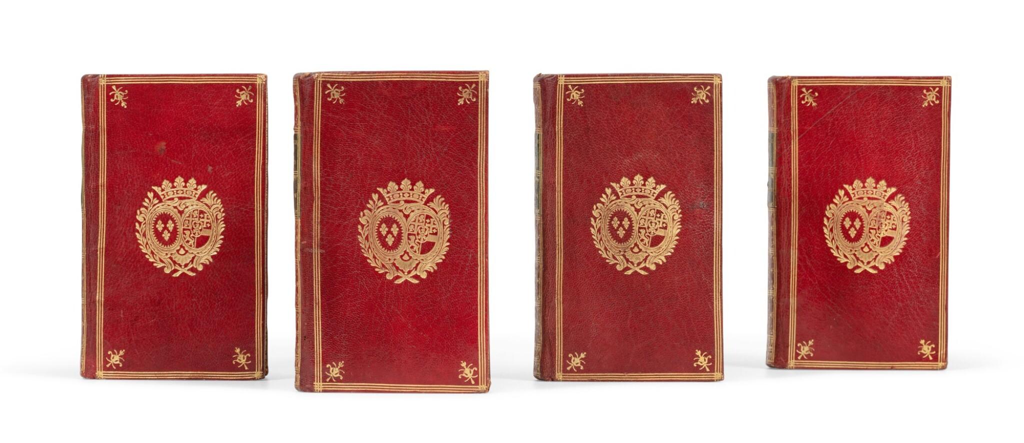 View full screen - View 1 of Lot 95. Histoire du règne de Philippe II 1778. 4 vol. Aux armes de la comtesse de Provence.