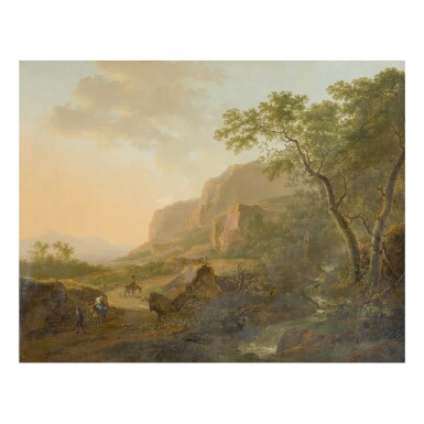 FOLLOWER OF JAN BOTH | ITALIAN LANDSCAPE WITH TRAVELERS ON A PATH, TREES AND A WATERFALL AT RIGHT, AND MOUNTAINS IN THE DISTANCE