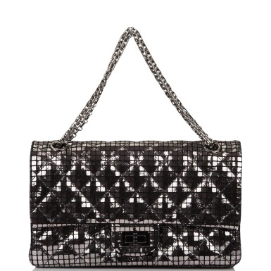 View 7. Thumbnail of Lot 96. CHANEL    MIRROR MEDIUM 2.55 REISSUE DOUBLE FLAP BAG OF CALFSKIN LEATHER WITH SILVER HARDWARE.