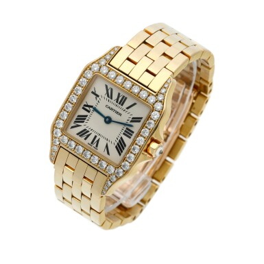 View 3. Thumbnail of Lot 22. Reference 2702 Santos Demoiselle   A yellow gold and diamond-set square shaped wristwatch with bracelet, Circa 2000 .
