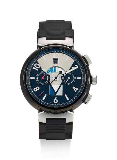 LOUIS VUITTON | LOUIS VUITTON TAMBOUR REGATTA V3 LV CUP, REFERENCE Q102G, A PVD COATED STAINLESS STEEL CHRONOGRAPH WRISTWATCH WITH DATE AND REGATTA COUNTDOWN INDICATION, CIRCA 2012