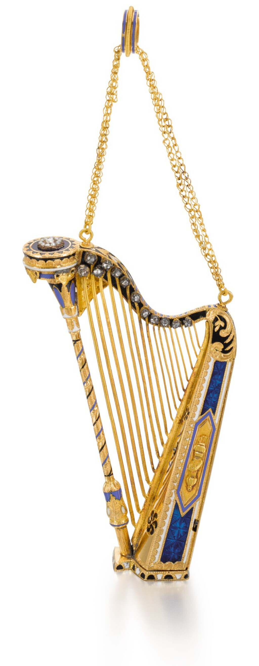 SWISS | A GOLD, ENAMEL AND DIAMOND-SET MUSICAL HARP  CIRCA 1810